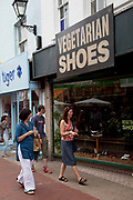 Vegetarian shoe shop. Market street in the North Laines area of Brighton, East Sussex. North Laine—sometimes incorrectly called the North Lanes—is a shopping and residential district of Brighton, on the English  south coast immediately adjacent to the Royal Pavilion. Once a slum area, nowadays with its many pubs and cafés, theatres and museums, it is seen as Brighton's bohemian and cultural quarter.