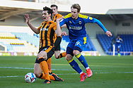 AFC Wimbledon striker Joe Pigott (39) battles for possession during the EFL Sky Bet League 1 match between AFC Wimbledon and Hull City at Plough Lane, London, United Kingdom on 27 February 2021.