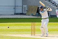 Tom Kohler-Cadmore hits 4 during the Bob Willis Trophy match between Yorkshire County Cricket Club and Leicestershire County Cricket Club at Emerald Headingley Stadium, Leeds, United Kingdom on 9 September 2020.