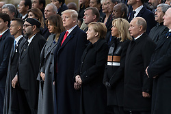 Morocco's King Mohammed VI and his son, first lady Melania Trump, U.S. President Donald Trump, German Chancellor Angela Merkel, Emmanuel Macron and Brigitte Macron, Russian President Vladimir Putin and Australian Governor-General Peter Cosgrove.<br /> French President Emmanuel Macron and Brigitte Macron, German Chancellor Angela Merkel, U.S. President Donald Trump, first lady Melania Trump, Morocco's King Mohammed VI, Russian President Vladimir Putin, Australian Governor-General Peter Cosgrove attend a commemoration ceremony for Armistice Day, 100 years after the end of the First World War at the Arc de Triomphe.<br /> Paris,FRANCE-11/11/2018 Photo by Jacques Witt/pool/ABACAPRESS.COM