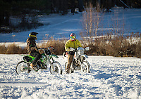 Motorcycles on Saltmarsh Pond in Winter.  ©2016 Karen Bobotas Photographer
