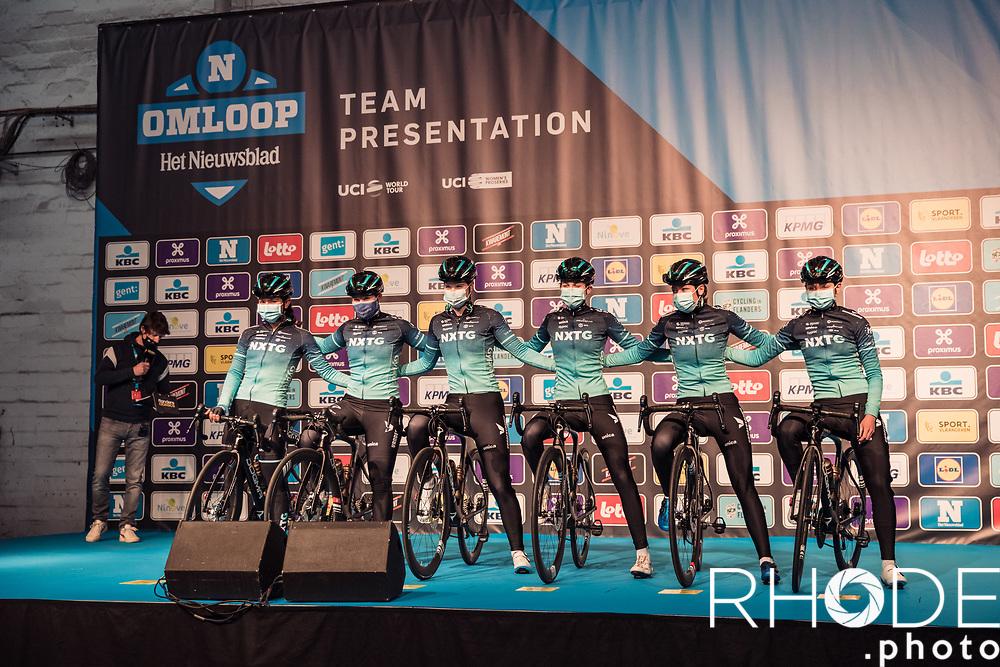 Team NXTG Racing pre race team presentation<br /> <br /> 13th Women's Omloop Het Nieuwsblad 2021 <br /> 1 Day Race: Gent – Ninove 124km<br /> <br /> ©Rhode.Photo