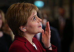 First Minister Nicola Sturgeon speaks to the media at the Emirates Arena in Glasgow, as counting is under way for the General Election.