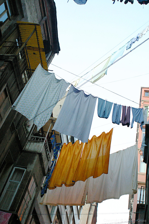 Clothes hanging to dry in Galata, Istanbul, Turkey.