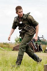 Reenactors portray panzer grenadiers from the elite German Großdeutschland Division during he Spam 1940s Wartime Weekend Heckmondwike <br /> July 2011