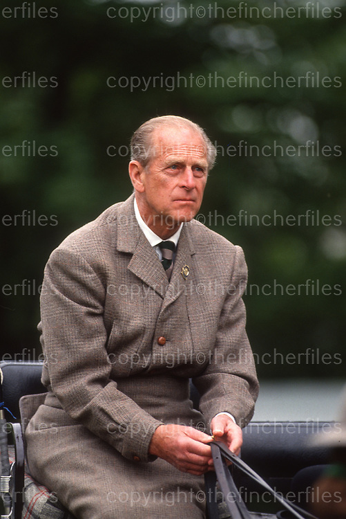 Prince Philip, Duke of Edinburgh seen off duty driving a carriage and horses at the Royal Windsor Horse Show in May 1992.Photograph by Jayne Fincher