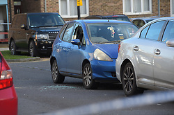 © Licensed to London News Pictures 17/01/2018 London UK. Shattered car window in a vehicle in Biggerstaff Road, Stratford, east London where a man was shot last night. Photo credit: Steve Poston/LNP
