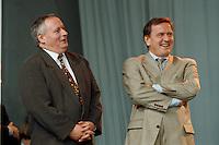 07.10.1995, Germany/Berlin:<br /> Oskar Lafontaine, SPD, Ministerpräsident Saarland und Gerhard Schröder, SPD, Ministerpräsident Niedersachsen, Kundgebung auf dem Alexanderplatz zum 50. Jahrestag der Wiedergründung der SPD<br /> IMAGE: 19951007-02/02-10<br />  <br />  <br />  <br /> KEYWORDS: Schroeder