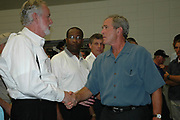 President Bush greets some of the elected officials and law anforcement personnel after making remaks at the Pearl River Community College in Poplarville Ms. officials from all the affected counties from Hurricane Katrina in Poplarville Ms.Monday Sept. 5,2005. Bush said he has Mississippi on his mind and that the goverment is here to help. Hurricane Katrina is the worst natural disaster to hit American soil and the National and local goverments are working together to clean up the mess from the catasrophic destruction. (Photo/Suzi Altman)