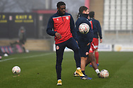 Stevenage forward Tyrone Marsh(10) warming up during the FA Cup match between Stevenage and Swansea City at the Lamex Stadium, Stevenage, England on 9 January 2021.