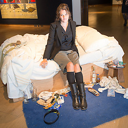 Christie's London. Tracey Emin's 'My Bed'  (1998) on the market for the first time is to go sale on July 1st as part of the Post War & Contemporary Art Evening Auction.Pic Shows Tracey Emin with 'My Bed'