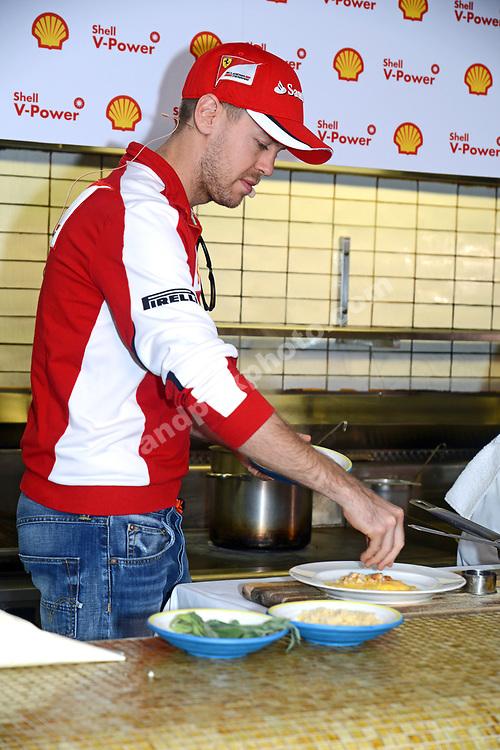 Sebastian Vettel (Ferrari) during Shell media event with chef Guy Grossi before the 2015 Australian Grand Prix in Albert Park, Melbourne. Photo: Grand Prix Photo