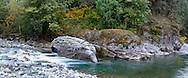Fall colours at the Coquihalla River at Coquihalla Canyon Provincial Park in Hope, British Columbia, Canada