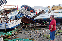 July 21, 2017 - Mugla, Turkey - Damaged boats are seen on a beach following a sea surge caused by an earthquake, in the Aegean coastal city of Mugla, Bodrum Province, Turkey. A strong 6.7 magnitude earthquake hit Turkey's Aegean coast, and at least 90 people were injured as a sea surge caused damages in buildings and streets. Two people were killed and dozens were injured on the Greek Island of Kos and beachfront hotels have been flooded on both Turkish and Greek coasts after the earthquake hit in the Aegean Sea early 21 July. (Credit Image: © Dha/Depo Photos via ZUMA Wire)