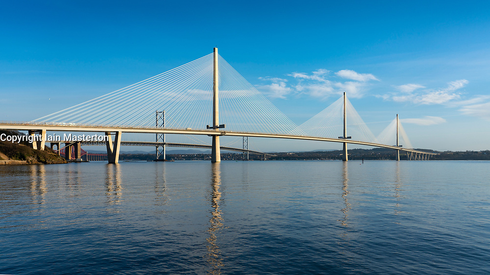 View of Queensferry Crossing long span cable-stayed bridge spanning River Forth at North Queensferry, Scotland UK