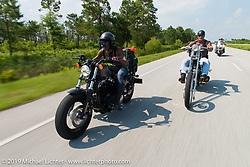 """Chanel Flowers and The Horse Magazine publisher Ralph """"Hammer"""" Janus riding from Camp Lejeune Marine base in NC to Suck, Bang, Blow in Murrells Inlet in SC on the way to the Smokeout 2015. USA. June 17, 2015.  Photography ©2015 Michael Lichter."""