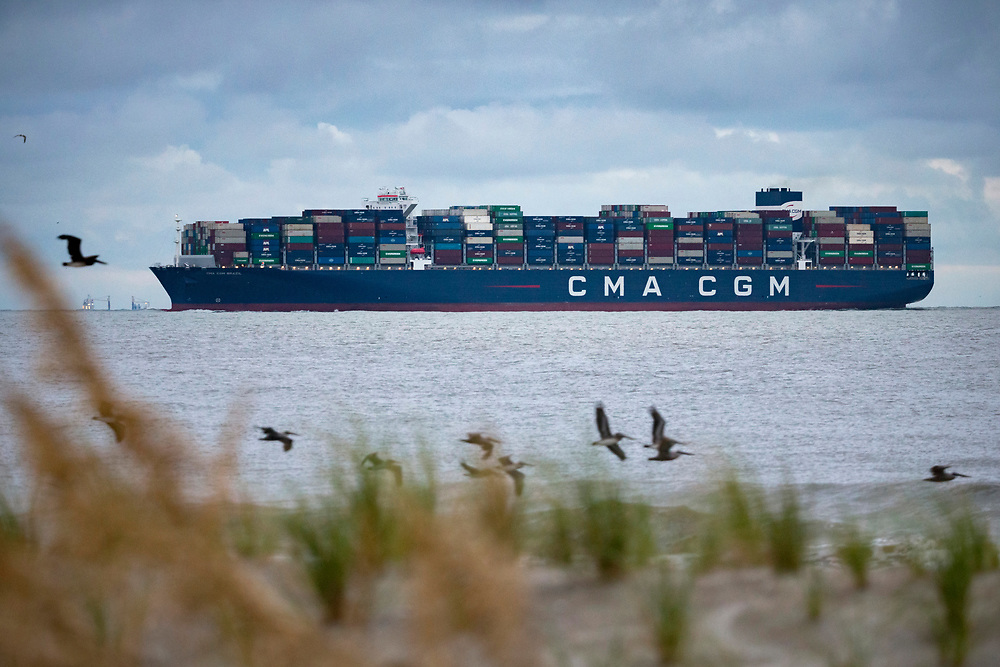 CMA CGM Brazil, the largest ship to ever call the U.S. East Coast with a capacity of 15,072 twenty-foot equivalent container units, sails upriver to the Georgia Ports Authority's Port of Savannah Garden City Terminal, Friday, Sept., 18, 2020, in Tybee Island, Ga.  (GPA Photo/Stephen B. Morton)