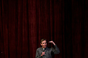 Mike McCabe gestures during the public forum for Democratic gubernatorial candidates at LaFollete High School in Monona, Wisconsin, Sunday, Jan. 28, 2018.