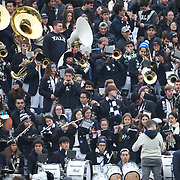 NEW HAVEN, CONNECTICUT - NOVEMBER 18: The Yale band playing during the Yale V Harvard, Ivy League Football match at the Yale Bowl. Yale won the game 24-3 to win their first outright league title since 1980. The game was the 134th meeting between Harvard and Yale, a historic rivalry that dates back to 1875. New Haven, Connecticut. 18th November 2017. (Photo by Tim Clayton/Corbis via Getty Images)