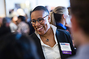 Elisa Durrette of CloudFlare, Inc. networks during the Bay Area Corporate Counsel Awards at The Westin San Francisco Airport in Millbrae, California, on March 18, 2019. (Stan Olszewski for Silicon Valley Business Journal)