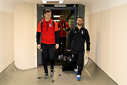 DUBLIN, REPUBLIC OF IRELAND - Thursday, March 23, 2017: Wales' Ben Davies and  arrive at Dublin Airport ahead of the 2018 FIFA World Cup Qualifying Group D match against Republic of Ireland. (Pic by David Rawcliffe/Propaganda)