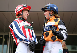 Jockey Abigail Dean and Ali Dane in the paddock before the Pertrmps Champions Willberry Charity Race during the April Meeting at Cheltenham Racecourse