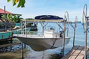 Boat lift, dock, Vaitape, Bora Bora, French Polynesia