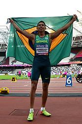 Brazil's Mateus Evangelista Cardoso celebrates winning the Men's 100m T37 Final during day seven of the 2017 World Para Athletics Championships at London Stadium.