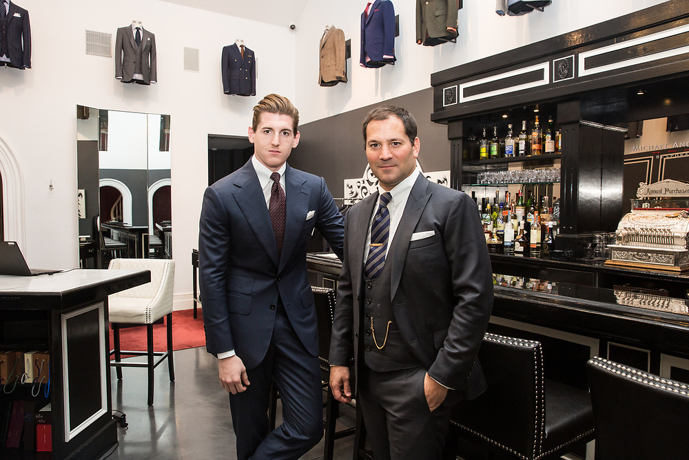 Creative Director Charles Dean with founder Michael Andrews of Michael Andrews Bespoke at their shop in New York City, 2016.