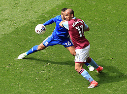 23 April 2017 - EFL Championship Football - Aston Villa v Birmingham City - Gabby Agbonlahor of Aston Villa grapples with David Davis of Birmingham City - Photo: Paul Roberts / Offside