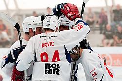 Team CityPark Strele celebrates a goal at semifinal match of IZS Masters 2011 inline hockey between CityPark Strele and Troha Pub Bled, on June 4, 2011 in Sportni park, Horjul, Slovenia. (Photo by Matic Klansek Velej / Sportida)