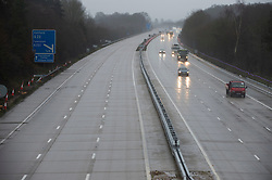 © Licensed to London News Pictures. 21/12/2020. <br /> Ashford, UK. The M20 at Ashford J9 closed coastbound. A major police operation is underway in Kent as Operation Stack is implemented on the M20 due to the Port of Dover and Channel Tunnel having to close in response to France closing its borders to the UK. All freight and passenger traffic have been banned for 48 hours due to the new mutant strain of the Coronavirus in England. traffic. Photo credit:Grant Falvey/LNP