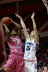 05 February 2016: Octavia Crump(3) shoots over Kelsey Dirks. Illinois State University Women's Redbird Basketball team hosted the Sycamores of Indiana State for a Play4 Kay game at Redbird Arena in Normal Illinois.