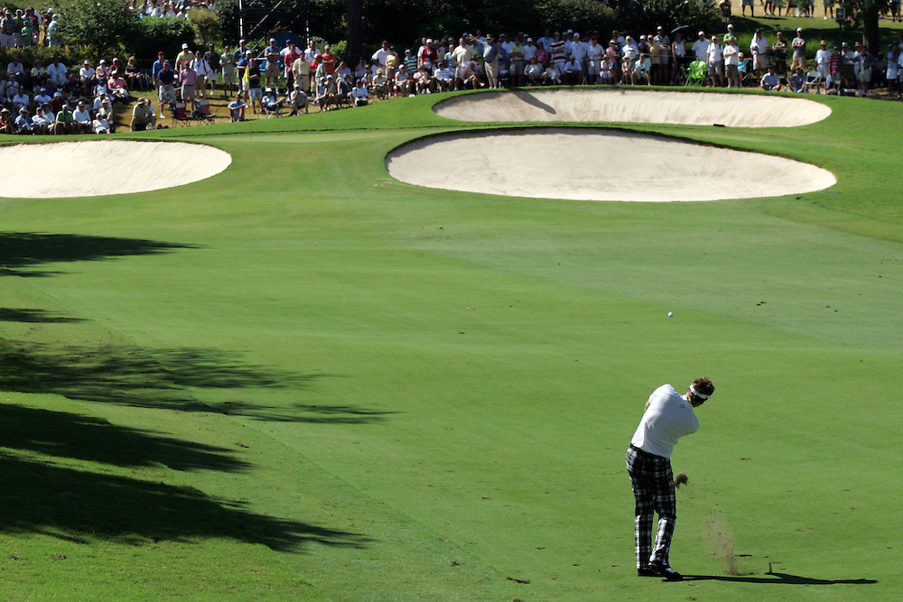 11 August 2007: Ian Poulter hits his second shot from the fairway on the 4th hole during the third round of the 89th PGA Championship at Southern Hills Country Club in Tulsa, OK.
