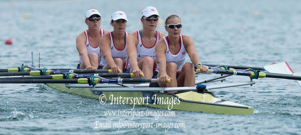 Belgrade, SERBIA, GBR W4X, Bow, Beth RODFORD, Lucinda GOODERHAM, Victoria MEYER-LAKER and Kristina STILLER at the start of the heat at the  2014 FISA European Rowing Championships. Lake Sava. <br /> <br /> <br /> 12:00:07  Friday  30/05/2014<br /> <br /> [Mandatory Credit; Peter Spurrier/Intersport-images]
