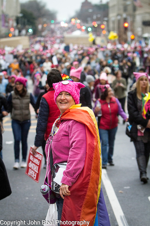 """Phred Huber, traveled from Atlanta to attend the Women's March on Washington where an anticipated 200,000 people turned into an estimated 500,000 to 1 million people, on Saturday, January 21, 2017.  When asked about her hopes for the next four years, she said, """"...I hope we don't cede any ground...We were on a really great path [during Obama's Presidency]...people need to realize that we are already great...I hope people realize there are facts...""""  John Boal Photography"""