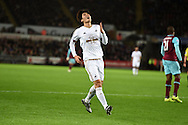 Ki Sung-Yueng of Swansea city reacts after he sees his shot at goal saved. Barclays Premier league match, Swansea city v West Ham Utd at the Liberty Stadium in Swansea, South Wales  on Sunday 20th December 2015.<br /> pic by  Andrew Orchard, Andrew Orchard sports photography.