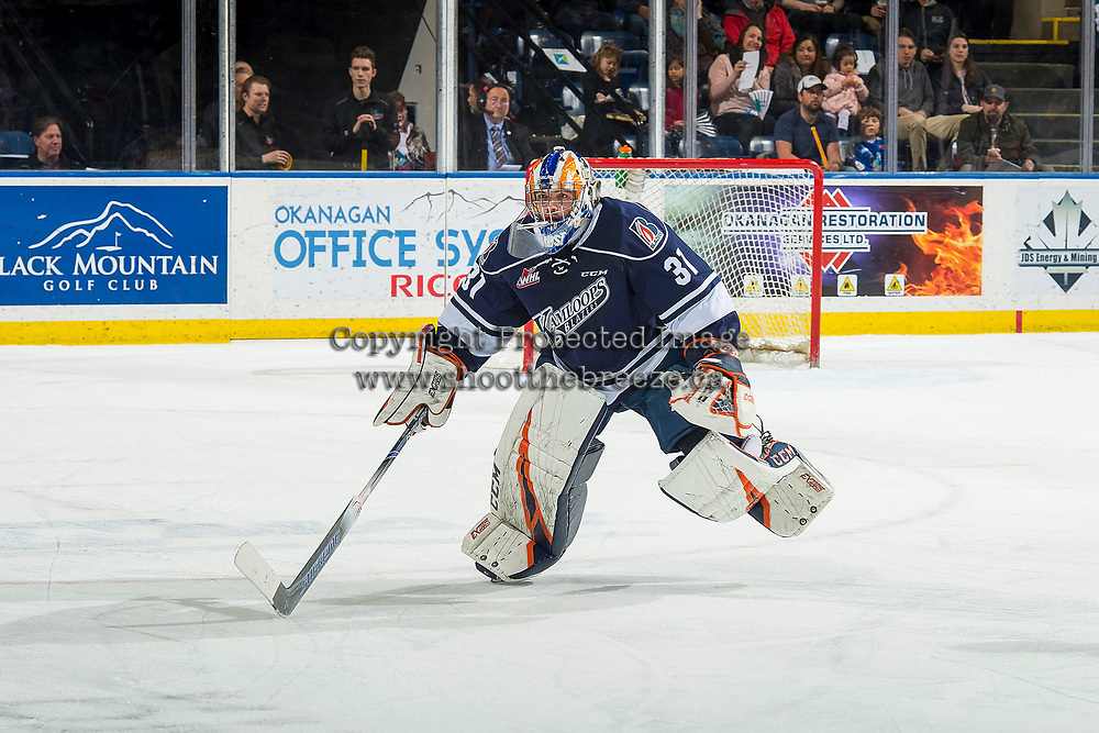 KELOWNA, BC - FEBRUARY 02: Dylan Ferguson #31 of the Kamloops Blazers skates to the bench for the penalty against the Kelowna Rockets at Prospera Place on February 2, 2019 in Kelowna, Canada. (Photo by Marissa Baecker/Getty Images)