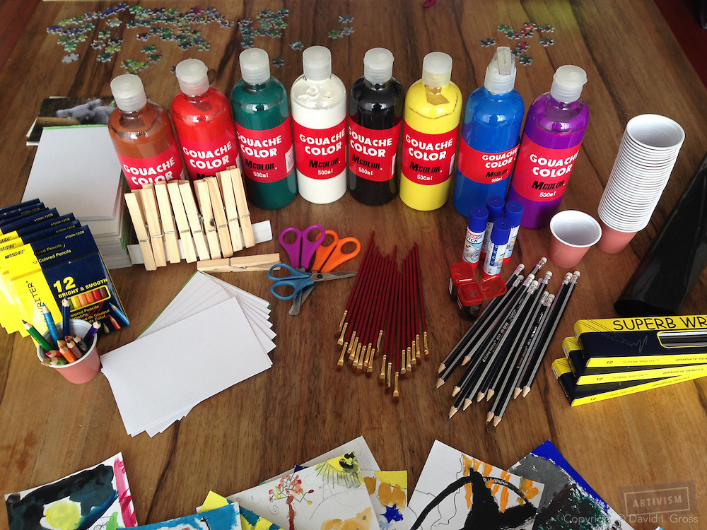 These art supplies will last for many classes. These were purchased for about $125 USD.