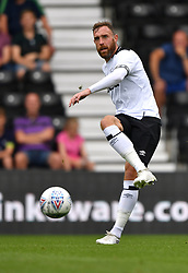 "Derby County's Richard Keogh  during a pre season friendly match at Pride Park, Derby. PRESS ASSOCIATION Photo. Picture date: Saturday July 21, 2018. Photo credit should read: Anthony Devlin/PA Wire. EDITORIAL USE ONLY No use with unauthorised audio, video, data, fixture lists, club/league logos or ""live"" services. Online in-match use limited to 75 images, no video emulation. No use in betting, games or single club/league/player publications."