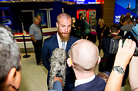 18/08/15<br /> GLASGOW AIRPORT<br /> Malmo and former Celtic player Jo Inge Berget speaks to the press ahead of his side's meeting with his past team in their UEFA Champions League Play-Off Round fixture.