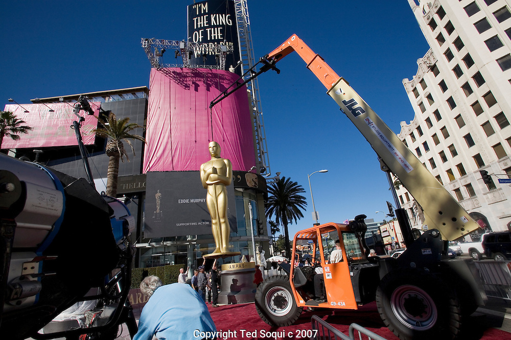 Preparations for the 79th annual Academy Awards show. .Hollywood and Highland red carpet area.