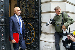 © Licensed to London News Pictures. 16/10/2019. London, UK. Chancellor of The Exchequer SAJID JAVID arrives in Downing Street to attend the weekly cabinet meeting. This week's cabinet meeting was postponed by one day on Tuesday 15 October amid a final push for a Brexit agreement that can be sealed in time for the European Council summit in Brussels on Thursday and Friday. Photo credit: Dinendra Haria/LNP