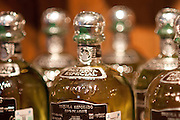 Bottles of 100% Blue Agave tequila for sale at La Cofradia distillery in Tequila, Mexico of Jalisco.