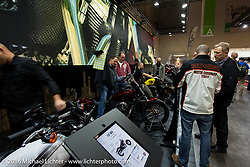 Harley-Davidson Motorcycles display at the Intermot Motorcycle Trade Fair. Cologne, Germany. Friday October 7, 2016. Photography ©2016 Michael Lichter.