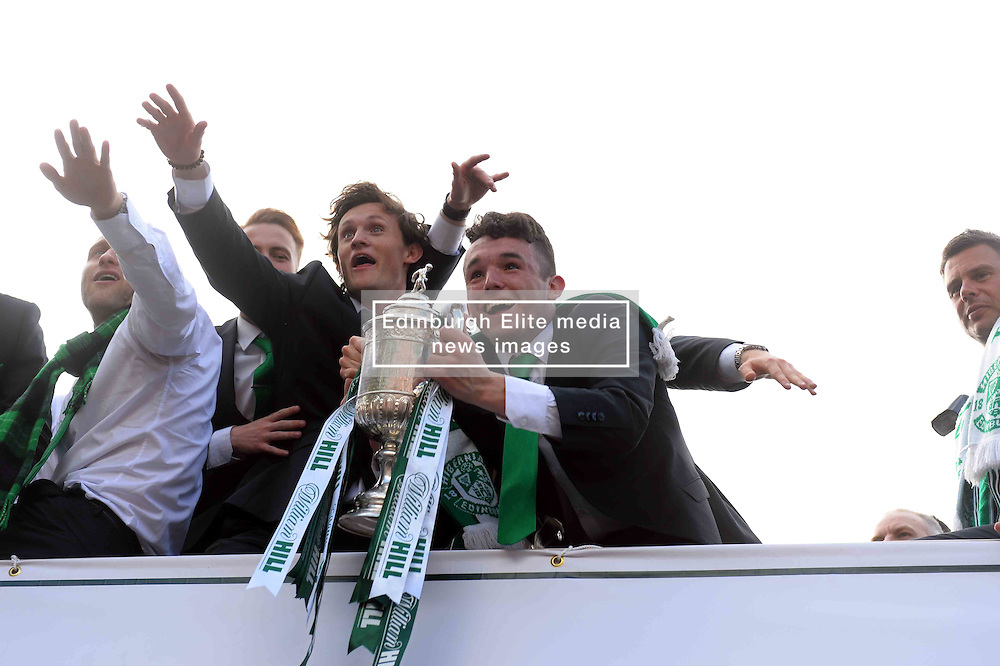 Hibernian Players travel on a open top bus through the streets of Edinburgh parading the Scottish Cup they won after beating Rangers 3-2 with captain David Gray scoring the winner in added on time.<br /> <br /> (c) Donnchadh Simpson   Edinburgh Elite media