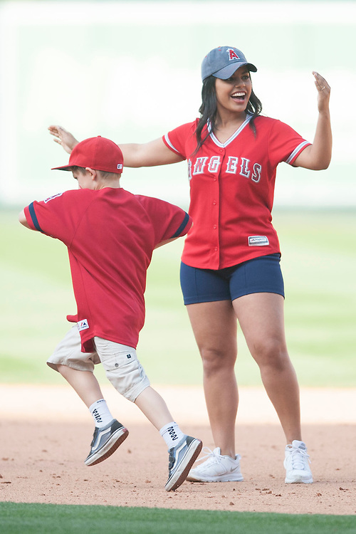 Kids run the bases after the Angels game against the  Houston Astros Sunday at Angel Stadium.  <br /> <br /> ///ADDITIONAL INFO:   <br /> <br /> angels.0530.kjs  ---  Photo by KEVIN SULLIVAN / Orange County Register  -- 5/29/16<br /> <br /> The Los Angeles Angels take on the Houston Astros Sunday at Angel Stadium.