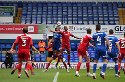 Michael Nottingham and Emyr Huws of Ipswich Town challenge for a header - Mandatory by-line: Arron Gent/JMP - 16/10/2020 - FOOTBALL - Portman Road - Ipswich, England - Ipswich Town v Accrington Stanley - Sky Bet League One