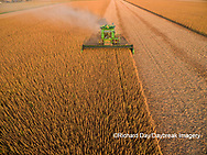 63801-09302 Soybean Harvest, John Deere combine harvesting soybeans - aerial - Marion Co. IL