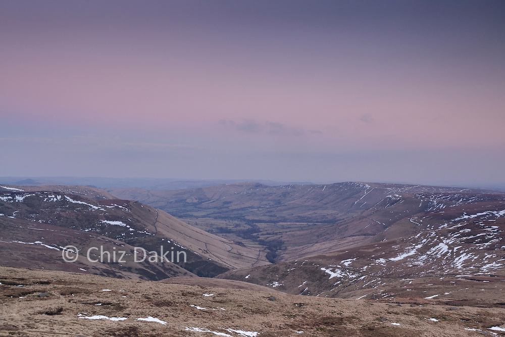 Edale valley at dusk from Edale Rocks, Peak District National Park